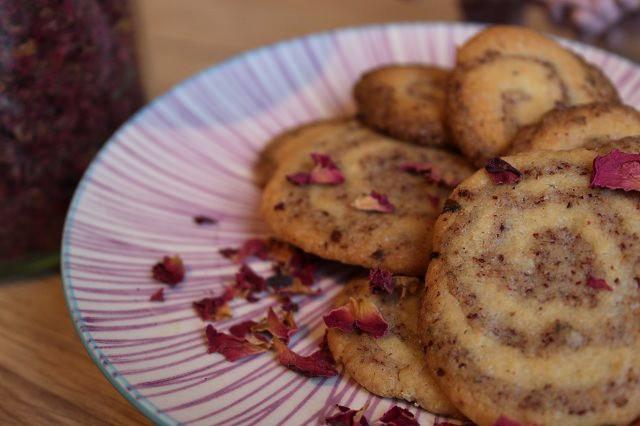 Rosen-Kekse mit edlem Schnecken-Muster